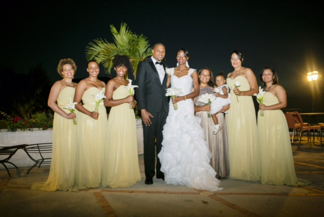 Bride, Groom and Bridesmaids - Custom wedding dress by MeJeanne Couture